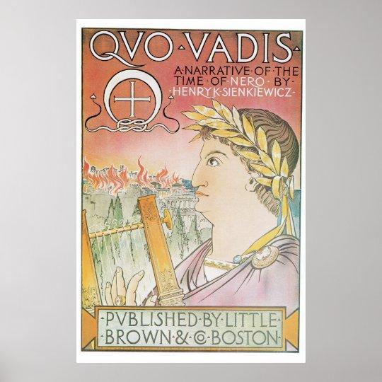 Vintage Art Nouveau Quo Vadis book advert Poster