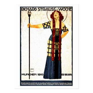 Vintage art nouveau Richard Strauss concert Postcard
