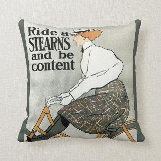 Vintage Art Nouveau, Ride a Sterns Bicycles Bikes Cushion