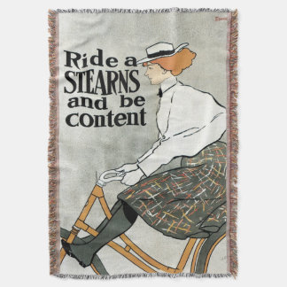 Vintage Art Nouveau, Ride a Sterns Bicycles Bikes Throw Blanket