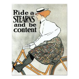 Vintage Art Nouveau, Ride Sterns Bicycles 11 Cm X 14 Cm Invitation Card