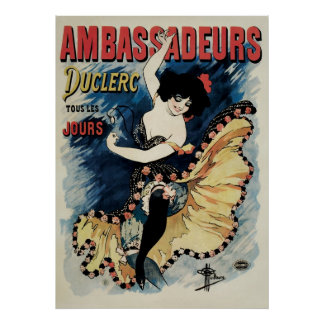 Vintage Art Nouveau, Spanish Flamenco Dancer Poster