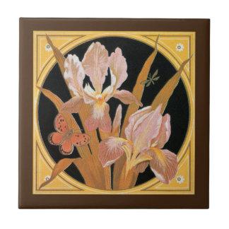 Vintage art nouveau spring leaves small square tile