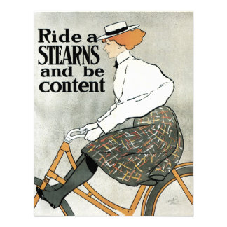 Vintage Art Nouveau Sterns Bicycles Woman on Bike Personalized Announcements