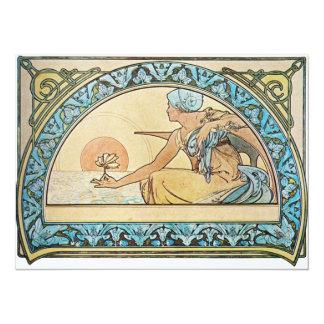 """Vintage Art Nouveau sunset 5.5"""" X 7.5"""" Invitation Card"""