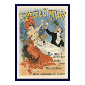 Vintage Art Nouveau Taverne Olympia Drinks Party Custom Announcements