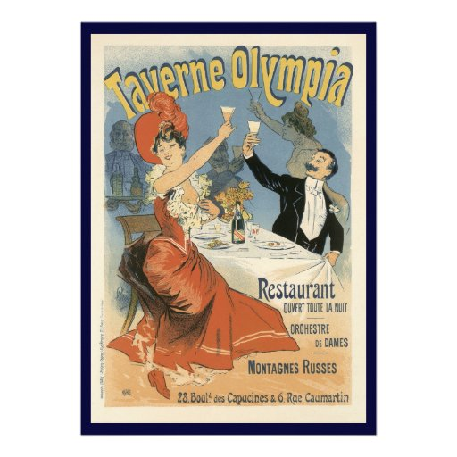 Vintage Art Nouveau; Taverne Olympia, Drinks Party Custom Announcements