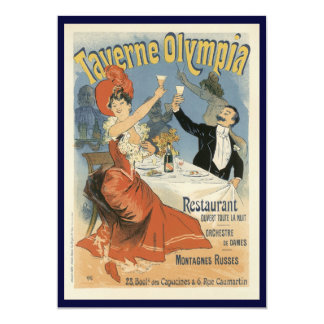 Vintage Art Nouveau, Taverne Olympia, Drinks Party Card