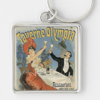 Vintage Art Nouveau, Taverne Olympia, Drinks Party Silver-Colored Square Key Ring