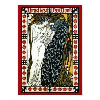 Vintage Art Nouveau, This Kiss, Woman with Peacock 13 Cm X 18 Cm Invitation Card