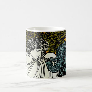 Vintage Art Nouveau, This Kiss, Woman with Peacock Coffee Mugs