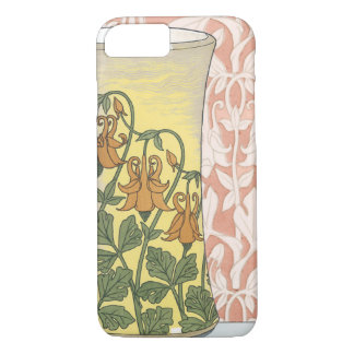 Vintage Art Nouveau, Vase with Columbine Flowers iPhone 7 Case