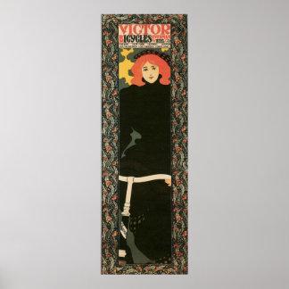 Vintage art nouveau vertical 12 x 36 print