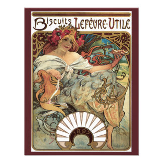 Vintage Art Nouveau Victorian Woman Alphonse Mucha Invite