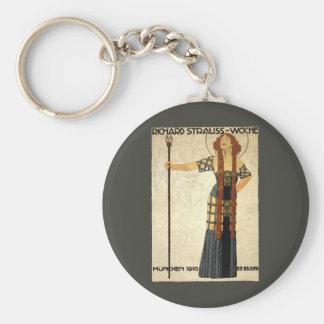 Vintage Art Nouveau, Victorian Woman Basic Round Button Key Ring