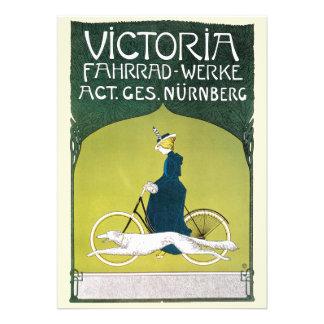Vintage Art Nouveau Victorian Woman Riding a Bike Announcement