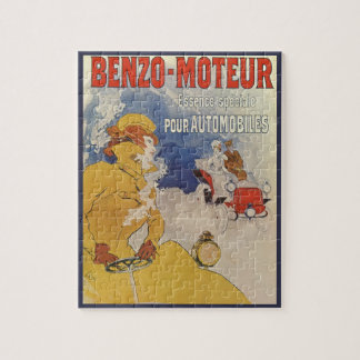 Vintage Art Nouveau, Woman Antique Convertible Car Jigsaw Puzzle
