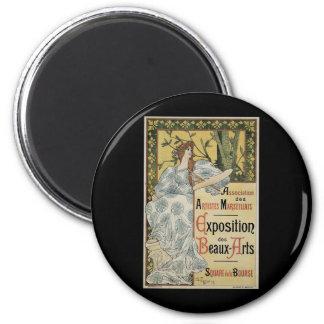 Vintage Art Nouveau, Woman Artist with Palette 6 Cm Round Magnet