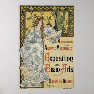 Vintage Art Nouveau, Woman Artist with Palette Poster