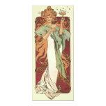 "Vintage Art Nouveau, Woman Champagne Birthday 4"" X 9.25"" Invitation Card"
