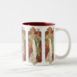 Vintage Art Nouveau, Woman Champagne Party Two-Tone Coffee Mug