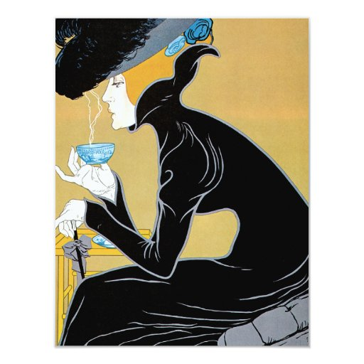 Vintage Art Nouveau, Woman Drinking Marco Polo Tea Custom Invitation