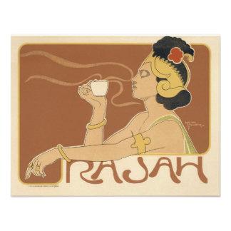 Vintage Art Nouveau Woman Drinking Tea Cafe Rajah Announcement