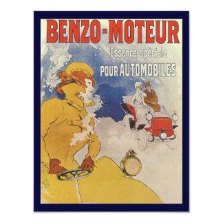 Vintage Art Nouveau, Woman Driving Convertible Car 11 Cm X 14 Cm Invitation Card