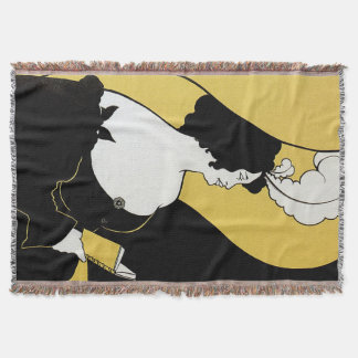 Vintage Art Nouveau, Woman Reading a Yellow Book Throw Blanket