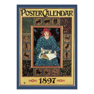 Vintage Art Nouveau, Woman Reading Astrology Book 13 Cm X 18 Cm Invitation Card