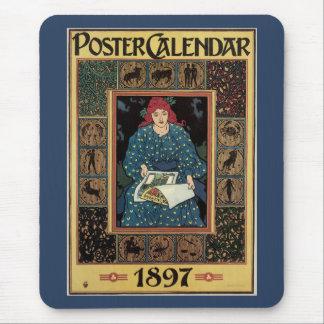 Vintage Art Nouveau, Woman Reading Astrology Book Mouse Pad