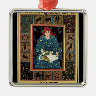 Vintage Art Nouveau, Woman Reading Astrology Book Silver-Colored Square Decoration