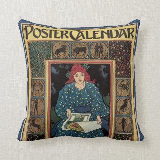Vintage Art Nouveau, Woman Reading Astrology Book Throw Pillow