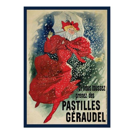 Vintage Art Nouveau, Woman Umbrella Snow Winter Announcement