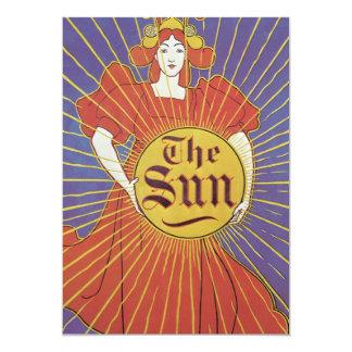 Vintage Art Nouveau, Woman with New York Sun 13 Cm X 18 Cm Invitation Card