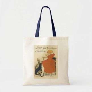 Vintage Art Nouveau, Young Girl Giving Cats Milk Bag