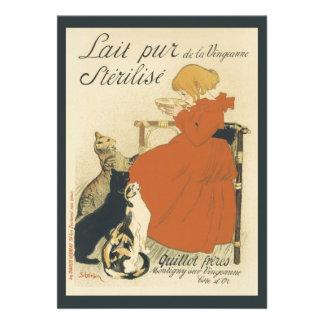 Vintage Art Nouveau Young Girl Giving Cats Milk Custom Announcement