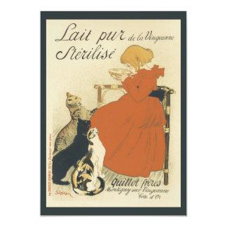 Vintage Art Nouveau, Young Girl Giving Cats Milk 13 Cm X 18 Cm Invitation Card