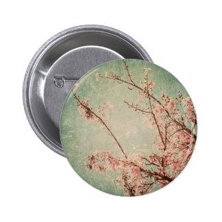 Vintage art painting worn retro green peach beige button