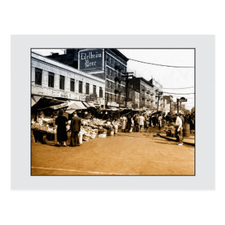 Vintage art photo: 1940 Italian Market, Bronx NYC Postcard
