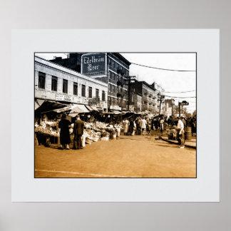 Vintage art photo: 1940 Italian Market, Bronx NYC Poster