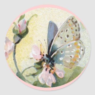 Vintage Art Pink Flowers and Butterfly Sticker