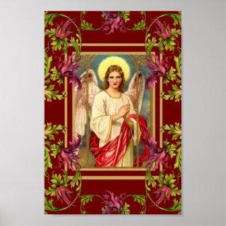 Vintage Art Poster Angel Floral Religious
