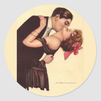 Vintage Art ~ Romantic Enraptured Couple Classic Round Sticker