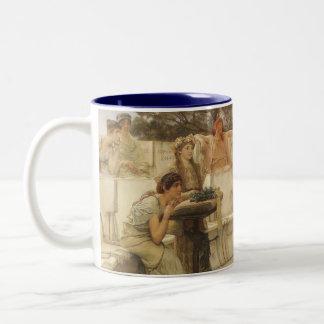 Vintage Art, Sappho and Alcaeus by Alma Tadema Two-Tone Coffee Mug