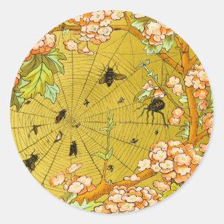 Vintage Art Spider web in flowering tree Round Sticker