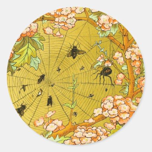 Vintage Art Spider web in flowering tree Stickers