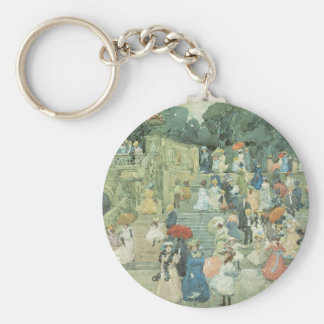 Vintage Art, The Mall, Central Park by Prendergast Basic Round Button Key Ring