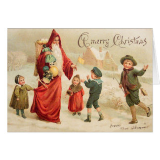 Vintage Art Victorian Christmas Santa Customize it Greeting Card