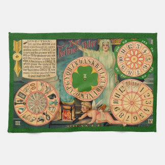 Vintage Art wheels of fortune telling board - love Tea Towel